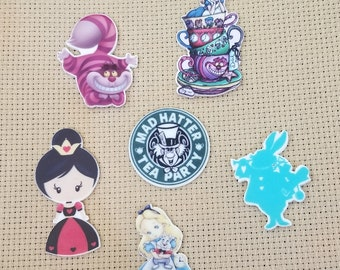 Alice in Wonderland Set of Six Inspired Resin Needle Minder, Needle Nanny, Needle Nanny,Cross Stitch