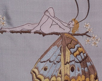Embroidery pattern. Butterfly Girl. Hand Embroidered Wall Art. Instructions & Pattern Butterfly embroidery. Stumpwork.