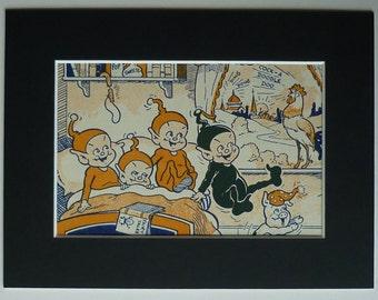 Black and orange picture of pixies, pixie fairy tale original illustration, vintage prints illustration, pixie hat childrens art, 1950s art