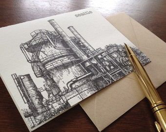 Gas Works Park - Letterpress Seattle City Landmark Card