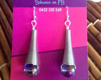 Purple glass bead bohemiam earrings
