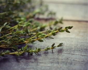 "Kitchen Decor Fine Art Food Photograph Rustic Wall Art Fresh Herbs Dark Green Cooking Wood Farmhouse Print ""Thyme"""