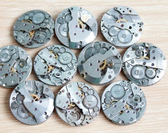 Set of 10 watch movement parts / not complete / Featured circle dials / Steampunk supplies / Watch movements  / Vintage / Steampunk Findings