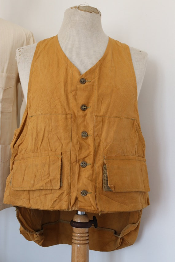 "Vintage 1980s 80s American tin cloth duck cotton hunting shooting vest Duxbak Utica 42"" chest"