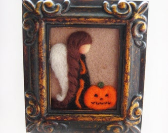 Halloween Angel -  Halloween Decor - Halloween Felted - Needle Felted Angel