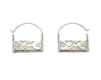 Air Earrings, Rectangle Earrings, Rectangle Hoops, Sky Earrings, Cloud Earrings, Geometric Hoops, Intricate Earrings