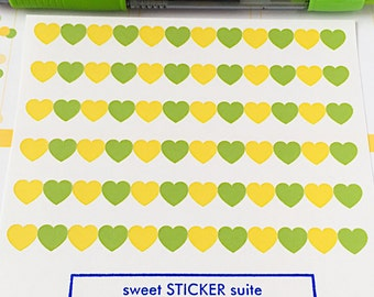72 Heart Planner Stickers- ECLP August Colors Set Stickers in Green and Yellow- perfect in your Erin Condren planner, calendar or scrapbook