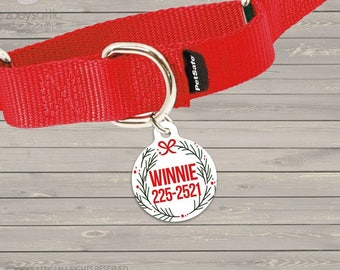 Personalized round pet tag holiday greenery -  sweet Christmas accessory ID tag for pets  DT-004