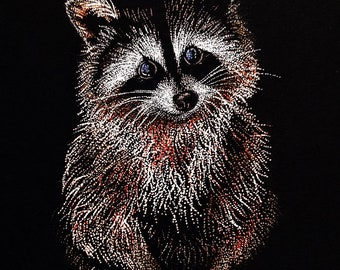 Fine Art Print of Pointillism Illustration: Raccoon by Christie A. Thompson