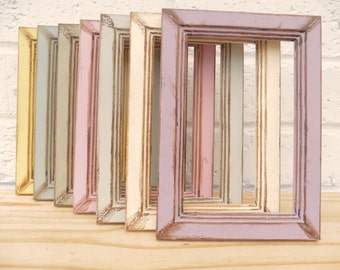 """Vintage Photo/Picture Frames Shabby Chic Retro Choice of 4 Sizes Choice of 7 Vintage Colours 6x4"""" 8x6"""" 10x8"""" """"A4"""" Weddings Gifts Home Decor"""