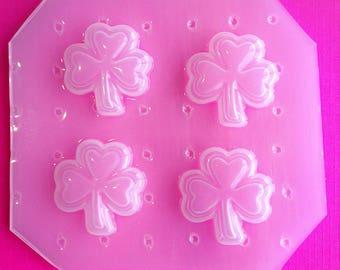 4pc Beveled St Patricks Day Shamrock Clover Flexible Plastic Mold For Resin Crafts