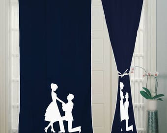 2 Pcs - Rod Pocket Hand Block, Printed Curtain Panels, Living Room, Custom window curtain, Curtain panels, Curtains for couples, Curtains