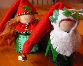 Christmas Gnome Couple, Waldorf Peg Dolls,  Holiday Gnomes, Art Dolls