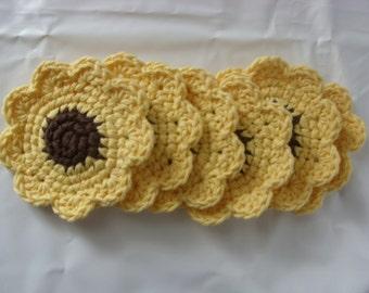 Crochet Sunflower Coasters/ Set of Six