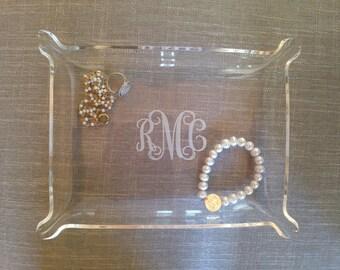 Acrylic Monogram Tray Monogram Jewelry Dish 3 Sizes Available