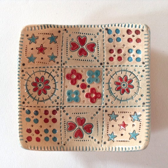 Handmade small ceramic dish, quiltblock pattern, trinket dish, pin dish, sewing gift
