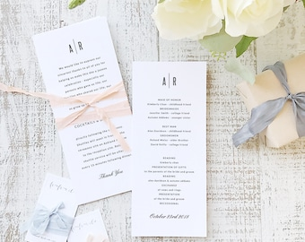 Instant Printable Wedding Program Template   INSTANT DOWNLOAD   Modern   Flat Tea Length   Editable Colors   Mac or PC   Word & Pages