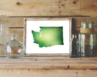 Washington Printable | Watercolor Washington Print | Green Wall Art | State Art Print 8 x 10 | Watercolor Print | Washington State Art