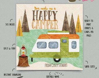 INSTANT DOWNLOAD - EDITABLE Valentine's day Card Camper kids Valentines Day card Valentine's classroom Card Camping Valentines day Cards