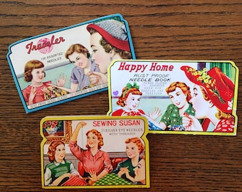 Vintage Needle Books Sewing Susan, Traveler, Happy Home, Vintage Sewing Graphics Gold Eye Needles and Threader Nickel Plated Needles
