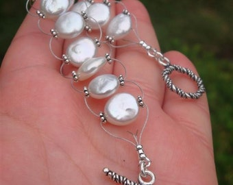 Forever Yours, Faithfully - Woven Coin Pearls & Sterling Silver Beaded Eternity Bracelet - Handmade by DORANA - Perfect Bridal Gift
