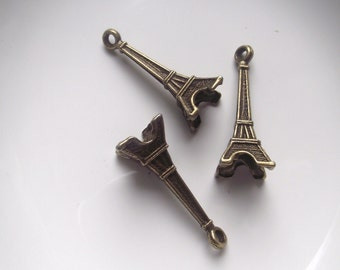 Eiffel Tower Pendants-3-D  3 piece set Antique Bronze Gold Component Destash
