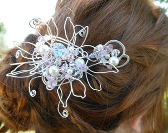 Swarovski Wirewrapped Hairpiece,  Artsy Hair Accessory,  Made to Order,  Silver Fill