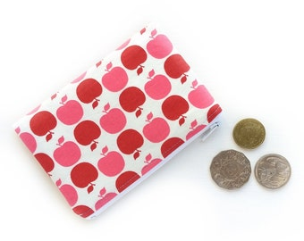 Coin Purse Red Apple, Change Purse, Lip Balm Case, Small Fabric Purse, Coin Pouch Wallet, Cotton Purse Pouch Wallet, Money Pouch, Sweet Gift