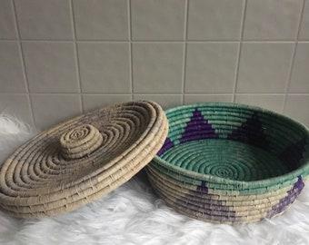 Lidded African Coil Basket