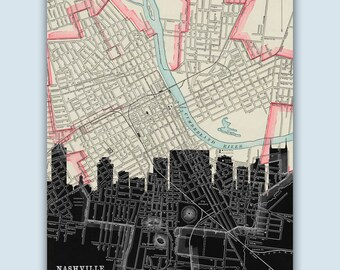 Nashville Skyline, Personalized Skyline Print, Nashville Decor, Nashville Poster, Nashville Map, Nashville Print,Nashville Art, Wedding Gift