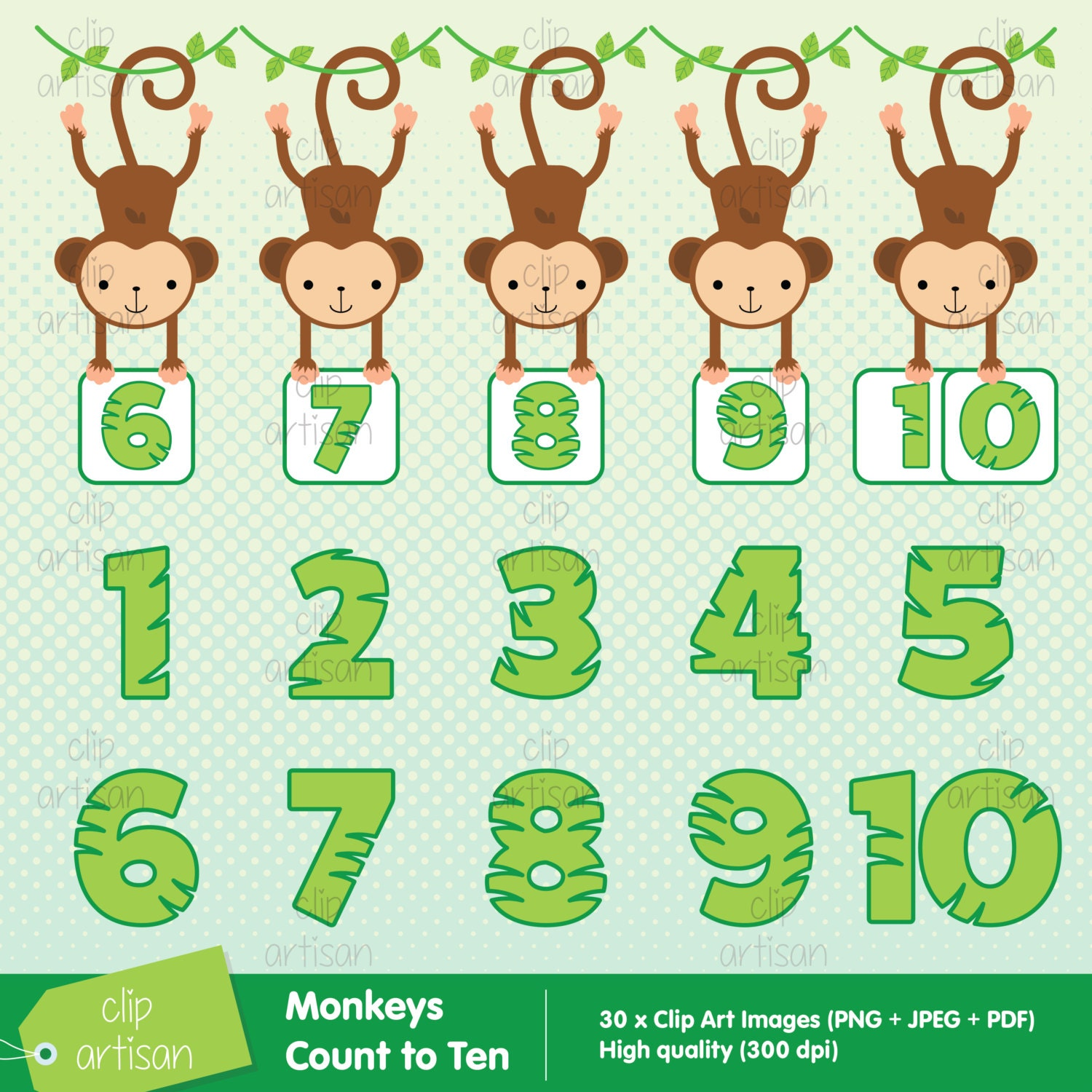 Monkey Numbers / Numbers 1 to 10 Clipart from ClipArtisan on Etsy Studio