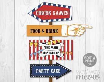 Circus Party Signs INSTANT DOWNLOAD Direction Arrow Signpost Personalize Birthday Carnival Edit Hand Editable Digital Printable Fun PDF Post