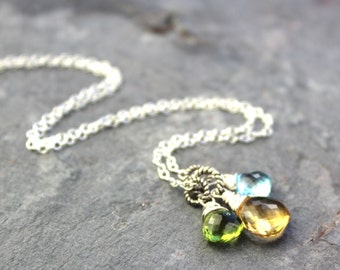 Gemstone Citrine Necklace Sterling Silver Blue Topaz Peridot Pendant Necklace Semi Precious