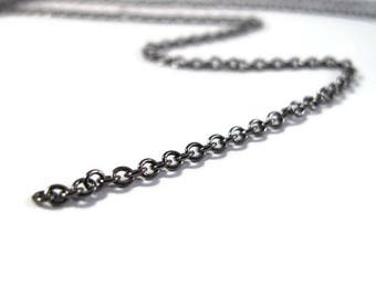 5 Feet of Thin Black Chain, Gunmetal Cable Chain, 2mm Rounded Black Cable Chain, Delicate and Sturdy for Jewelry, Hematite Color (40099139)