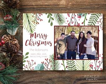 Photo Christmas Card Printable | Merry Christmas | Custom Photo Holiday Card | Print Yourself | Christmas Greeting Card