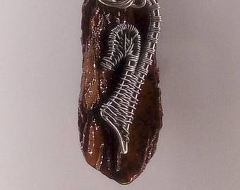 Nature themed wire wraped pendant