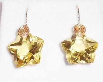 NATURAL 30ct Star Lemon Quartz gemstone, 14kt yellow gold Pierced Earrings