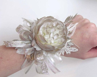 Champagne & Ivory Gatsby Corsage on a Pearl Wristband with matching Boutonniere