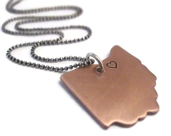 State love - copper and sterling silver necklace
