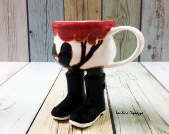 Tazza di caffè Espresso di stile Art Deco, The Clarice Cliff Study, ceramiche a piedi, mano dipinto Ware, fatte a mano in porcellana tazza, tazza di caffè carina, eccentrico