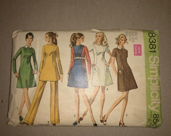 60s Vintage Simplicity 8381 UNCUT/FF Printed Sewing Pattern - Misses' Mad Men-Style Mod Dress or Tunic & Pants, Size 10, Bust 32 1/2""