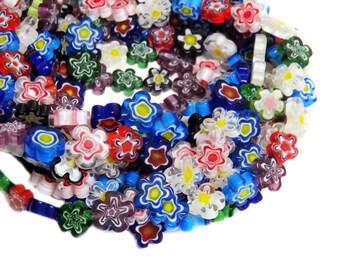 Flower Millefiori, Multicolor, 14mm, 1 strand