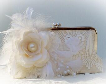Ivory Bridal Clutch / Lace Wedding Clutch / French Vintage Wedding / Gatsby