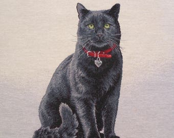 Coupon fabric Panel tapestry black cat with green eyes