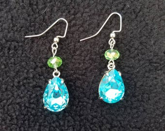 Whimsical blue and green sparkly earrings