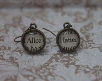 Alice ~ Hatter Earrings ~ Alice In Wonderland ~ Lewis Carroll ~ The Mad Hatter ~