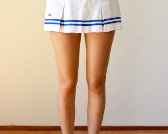 Vintage Lacoste Pleated Tennis Skirt | White Blue Stripes and Crocodile | Retro 50s 70 Mini Skirt