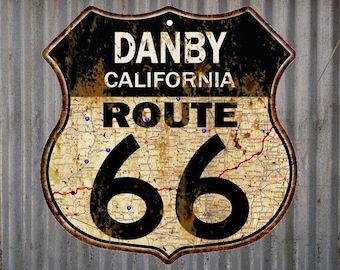 Danby, California Route 66 Vintage Look Rustic 12X12 Metal Shield Sign S122062