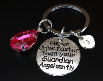 Never drive faster than your Guardian Angel can fly Keychain, Sweet 16 Keychain, Sweet 16 Key Chain, 16th Birthday Keychain, Sweet 16 Gift