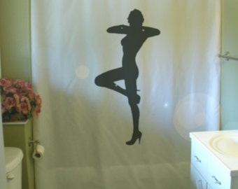Sexy Lady Pose Shower Curtain Heels Knee Up Private Dancer Act Play Heel  Dance Bathroom Decor Bath Curtains Custom Size Long Wide Waterproof